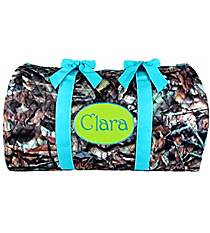 """21"""" BNB Natural Camo Quilted Duffle Bag with Turquoise Trim #SNQ2626-TURQ"""