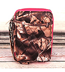 Natural Camo with Hot Pink Trim Quilted Wristlet #SNQ495-H/PINK