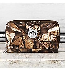 Natural Camo with Brown Trim Quilted Organizer Clutch Wallet #SNQ517-BROWN