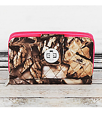 Natural Camo with Hot Pink Trim Quilted Organizer Clutch Wallet #SNQ517-H/PINK