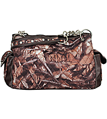 Quilted BNB Natural Camo Satchel with Brown Trim #SNQ977-CHO/BRO
