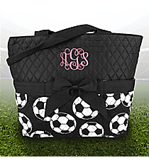 Soccer Quilted Diaper Bag with Black Trim #SOC2121-BLACK
