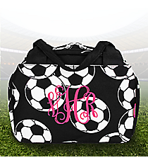 Soccer Insulated Bowler Style Lunch Bag #SOC255-BLACK