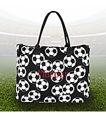 Soccer Quilted Large Shoulder Tote #SOC3907-BLACK
