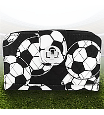 Soccer Quilted Organizer Clutch Wallet #SOC517-BLACK