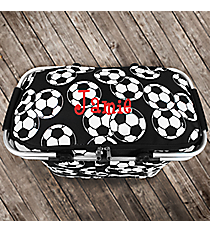 Soccer Collapsible Insulated Market Basket with Lid #SOC658-BLACK