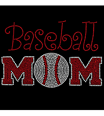 "Radiant ""Athletic Baseball Mom"" 6.5"" x 9.75"" Rhinestone Applique Iron-On SP01 *Personalize Your Colors"