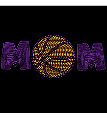 "Radiant ""Basketball Mom"" 4"" x 9.75"" Rhinestone Applique Iron-On SP09 *Personalize Your Colors"