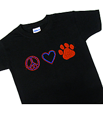 "Dazzling ""Peace, Love and Paw Print"" Youth Short Sleeve Relaxed Fit T-Shirt 2.25""x 7.5"" Design SP17 *Personalize Your Colors"