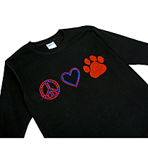 "Dazzling ""Peace, Love and Paw Print"" Youth Long Sleeve Relaxed T-Shirt 2.25""x 7.5"" Design Sp17 *Personalize Your Colors"