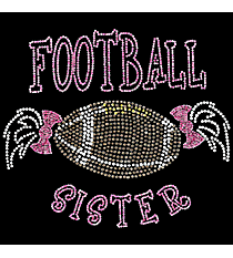 "Sparkling ""Football Sister"" 7.5"" x 8.5"" Rhinestone Applique Iron-On SP48 *Personalize Your Colors"