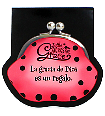 "Little Miss Grace ""God's Grace"" Coin Purse Notepad #NPD002S Little Miss Grace ""La Gracia de Dios"" Libreta con Monedero de la Moneda #NPD002S"