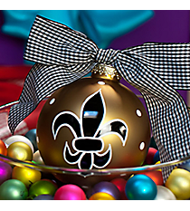 "4.5"" Gold Fleur de Lis Glass Keepsake Ornament with Gift Box #SPOCC-FLDGD"