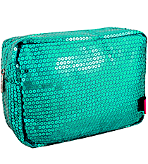 Aqua Sequined Cosmetic Case #SQB613-AQUA