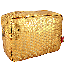 Gold Sequined Cosmetic Case #SQB613-GOLD