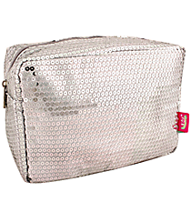 Silver Sequined Cosmetic Case #SQB613-SILVER