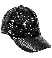 Black Sequined Cap #SQB899-BLACK