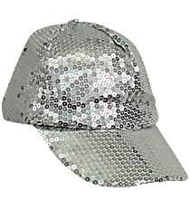 Silver Sequined Cap #SQB899-SILVER