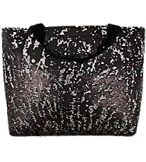 Black Bling Large Shoulder Tote #SQC678-BLACK
