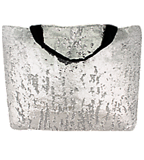 Silver Bling Large Shoulder Tote #SQC678-SILVER