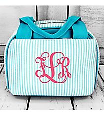 Aqua Striped Seersucker Insulated Bowler Style Lunch Bag #SR255-AQ