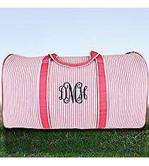 "21"" Pink Striped Seersucker Duffle Bag #SR2626-PINK"