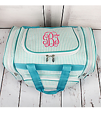 "Aqua Striped Seersucker Duffle Bag 17"" #SR417-AQUA"