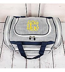 """Navy Striped Seersucker Duffle Bag 17"""" #SR417-NAVY"""
