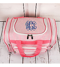 "Pink Striped Seersucker Duffle Bag 17"" #SR417-PINK"