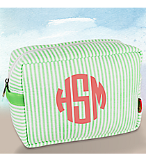 Lime Striped Seersucker Cosmetic Case #SR613-LIME