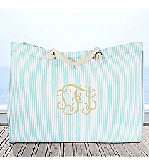 Large Aqua Striped Seersucker Shoulder Tote #SR634-AQUA