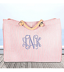 Large Coral Striped Seersucker Shoulder Tote #SR634-CORAL