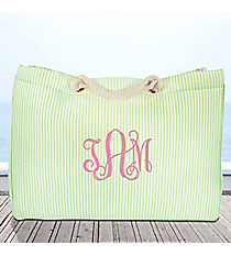 Large Lime Striped Seersucker Shoulder Tote #SR634-LIME