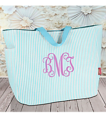 Aqua Striped Seersucker Tote #SR818-AQUA