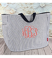 Navy Striped Seersucker Tote #SR818-NAVY