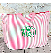 Pink Striped Seersucker Tote #SR818-PINK