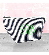 Navy Striped Seersucker Cosmetic Bag #SR820-NAVY