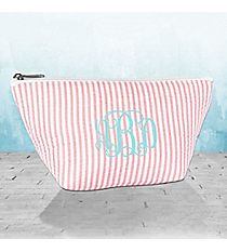 Coral Striped Seersucker Cosmetic Bag #SR820-CORAL