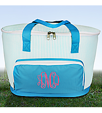 Aqua Striped Seersucker Cooler Tote with Lid #SR89-AQUA