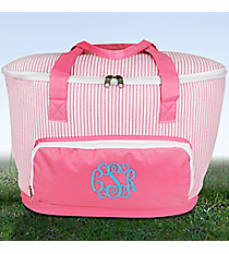 Pink Striped Seersucker Cooler Tote with Lid #SR89-PINK