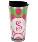 Green & Hot Pink Stainless Steel Travel Tumbler #579 *Choose Your Initial