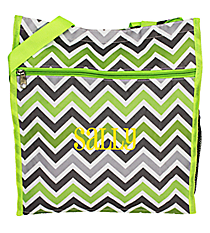 Green and Gray Chevron Shopper Tote #ST13-1326