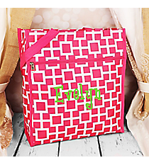 Pink and White Connecting Squares Shopper Tote #ST13-1334-2
