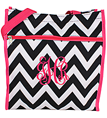 Black and White Chevron with Pink Trim Shopper Tote #ST13-1324B-P