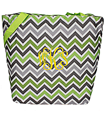 Market Shopping Tote in Green and Gray Chevron #ST18-1326