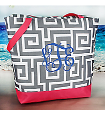 Market Shopping Tote in Gray Greek Key with Pink Trim #ST18-704-GR-PK