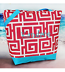 Market Shopping Tote in Pink Greek Key with Turquoise Blue Trim #ST18-704-PK-BL