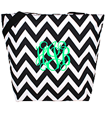 Market Shopping Tote in Black and White Chevron #ST18-1324B