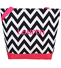 Market Shopping Tote in Black and White Chevron with Pink Trim #ST18-1324B-P