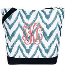 Market Shopping Tote in Blue Airbrushed Chevron #ST18-1330-1